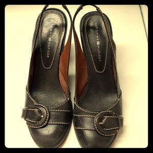 Black sling back shoes with top fancy buckle